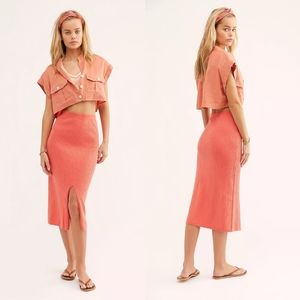 NEW Free People Skyline Knit Ribbed Midi Skirt